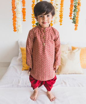 Tiber Taber Full Sleeves Zig Zag Printed Kurta With Dhoti Set - Red