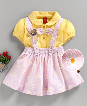 Wow Short Sleeves Top with Skirt & Suspender Floral Print - Yellow Pink