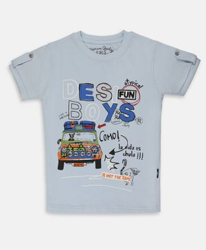 Li'l Tomatoes Half Sleeves Taxi Printed Tee With Free 3 Ply Face Mask - Light Blue