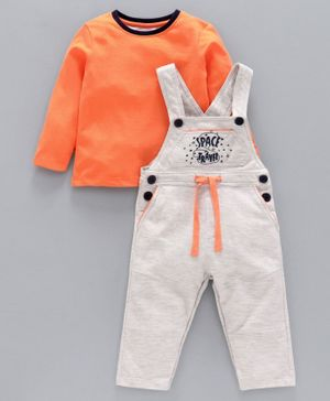Babyoye Cotton Dungaree Style Romper With Full Sleeves Tee Space Travel Embroidery - Orange Light Grey