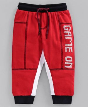 Babyoye Full Length Lounge Pant Game On Print - Red