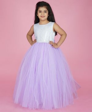 Indian Tutu Sleeveless Sequin Detailing Tutu Flared Gown - Purple