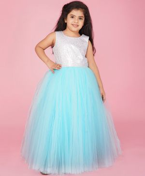 Indian Tutu Sleeveless Sequin Detailing Tutu Flared Gown - Light Blue