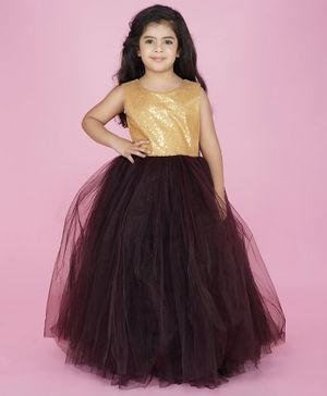 Indian Tutu Sleeveless Sequin Detailing Tutu Flared Gown - Brown