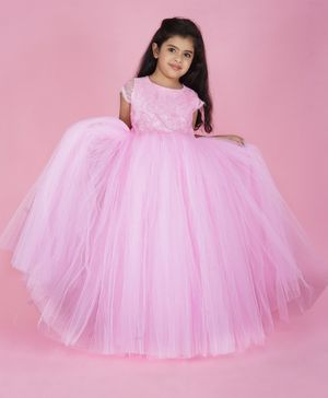 Indian Tutu Short Sleeves Lace Detailing Tutu Flared Gown - Light Pink