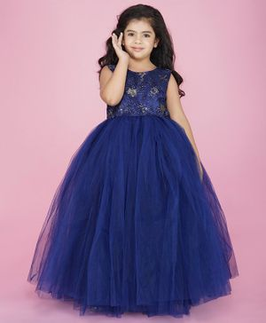 Indian Tutu Sleeveless Sequin Detailing Lacey Flared Gown - Dark Blue