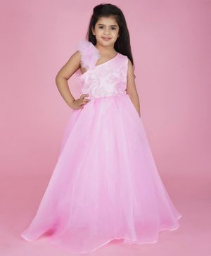 Indian Tutu Sleeveless Lace Detailing Flared Gown - Light Pink