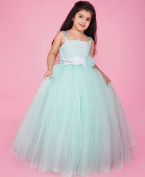 Indian Tutu Sleeveless Flower Decor Tulle Flare Gown - Green