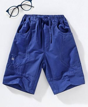 Attack Solid Mid Calf Length Shorts with Drawstring - Blue