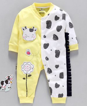 Child World Full Sleeves Romper Cow Patch - Yellow