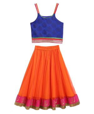 Twisha Sleeveless Motif Print Choli With Contrast Ghagra - Blue Orange