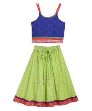 Twisha Sleeveless Motif Print Choli With Printed Ghagra - Blue Green