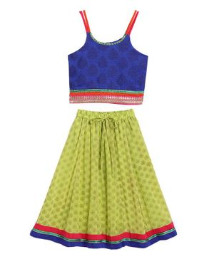 Twisha Sleeveless Motif Print Choli With Ghagra - Blue Green