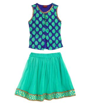 Twisha Stylish Sleeveless Motif Print Choli With Net Ghagra - Blue Green