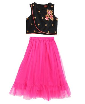 Twisha Sleeveless Floral Work Choli With Contrast Ghagra - Black Pink