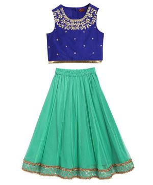 Twisha Sleeveless Floral Neckline Choli With Contrast Ghagra - Blue Green