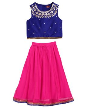 Twisha Sleeveless Floral Neckline Choli With Contrast Ghagra - Blue Pink