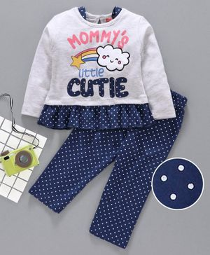 Babyhug Full Sleeves Night Suit Polka Dot Print - Blue Grey