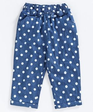 Babyoye Full Length Denim Trouser Polka Dot Print - Blue