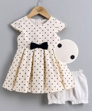 Babyoye Poly Blend Cap Sleeves Frock with Bloomers Polka Dot Print - Cream