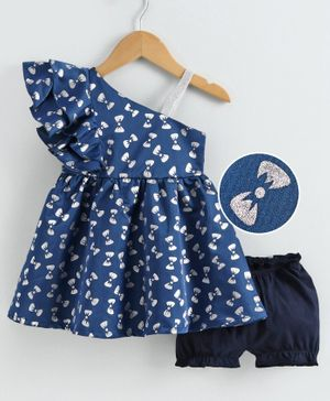 Babyoye Party Frock with Bloomer Allover Bow Print - Navy Blue