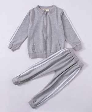 Kookie Kids Full Sleeves Winter Night Suit - Grey