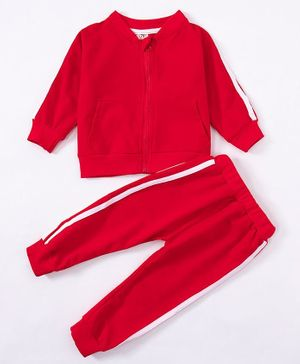 Kookie Kids Full Sleeves Winter Night Suit - Red
