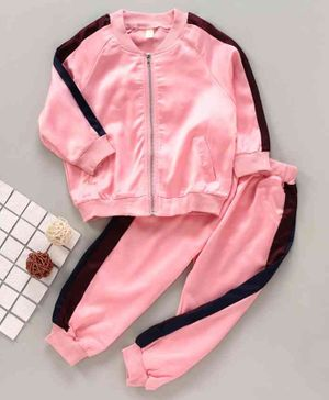 Kookie Kids Full Sleeves Jacket with Lounge Pant - Pink