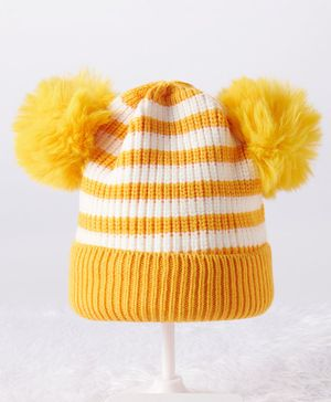 Babyhug Woollen Stripe Cap  Yellow White - Diameter 9.5 cm