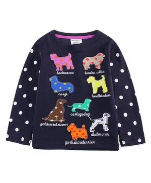 Kookie Kids Full Sleeves Polka Dotted Tee Puppy Patch - Navy Blue
