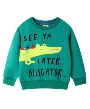 Kookie Kids Full Sleeves Tee Alligator Print - Teal