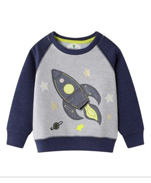 Kookie Kids Full Sleeves Raglan Tee Rocket Patch - Grey Navy Blue