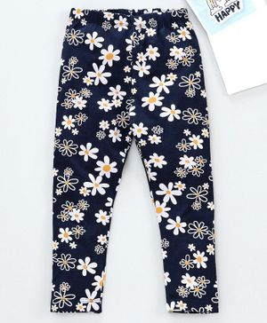 Babyhug Full Length Leggings Floral Print - Navy Blue