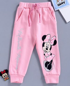 Disney by Babyhug Full Length Lounge Pant Mickey Mouse Print - Pink