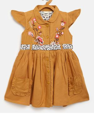 Bella Moda Cap Sleeves Flower Embroidered Dress With Belt - Brown