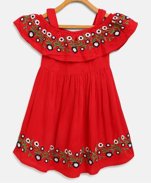 Bella Moda Flower Hand Embroidery Short Sleeves Off Shoulder Dress - Red