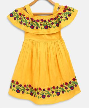 Bella Moda Flower Hand Embroidery Short Sleeves Off Shoulder Dress - Yellow
