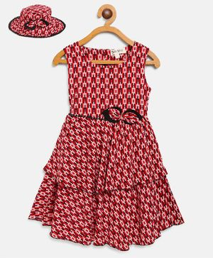 Bella Moda Printed Sleeveless Dress With Hat - Red