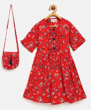 Bella Moda Flower Print Front Open Ruffled Half Sleeves Dress With Hand Bag - Red