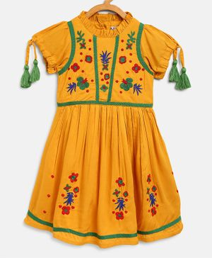 Bella Moda Flower Embroidery Half Sleeves Dress - Yellow