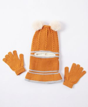 Babyhug Woolen Cap & Hand Gloves Yellow - Diameter 16 cm