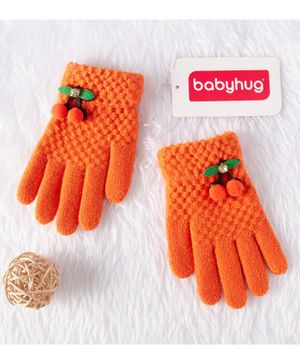 Babyhug Woolen Gloves - Orange