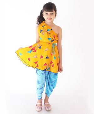 M'Andy Sleeveless Triangle Printed One Shoulder Kurta With Dhoti - Yellow
