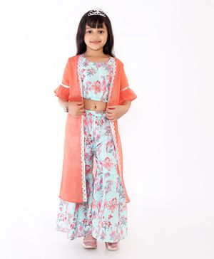 M'Andy Flower Printed Top With Attached Half Sleeves Jacket & Sharara Set - Light Green & Peach