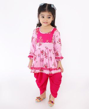 M'Andy Full Sleeves Floral Print Kurta With Dhoti - Pink