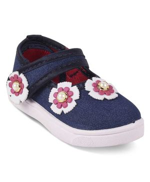 Kittens Shoes Flower Decor Detailing Mary Jane - Blue