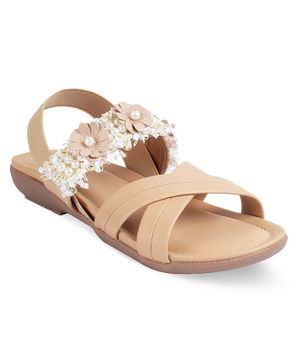 Kittens Shoes Flower Decor Detailing Sandals - Beige