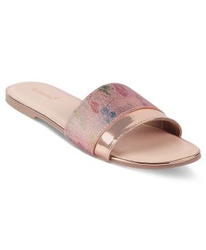 Kittens Shoes Flower Print Detailing Open Toe Flats - Pink