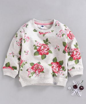 Teddy Full Sleeves Tee Rose Print - Grey