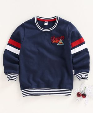 Teddy Full Sleeves Winter Wear T-Shirt - Navy Blue